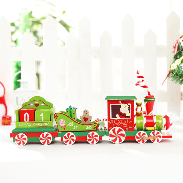 Countdown Xmas Wooden Table Decor Creative Train Funny Gift With Ornament For X