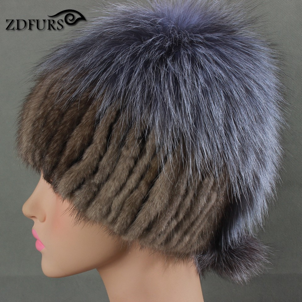 Glaforny 2017 Genuine Mink Fur Hats with Silver Fox Fur on Tops Knitted Fur Beanies Women Casual Fur Caps 3 Colors