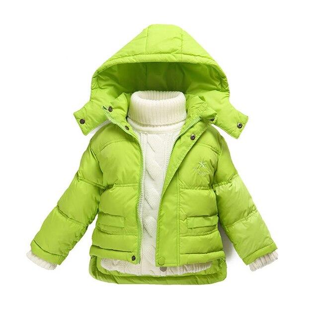 Мода 80% Стеганые Девочка Зимнее Пальто Новорожденного Детский Зимний Комбинезон Для Мальчиков Утка Вниз Верхняя Одежда Для Детей Куртки
