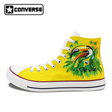 2016 New Shoes Brazil Flag Converse All Star Bird Green Winged Macaw Hand Painted Canvas Shoes