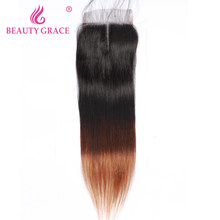 Beauty Grace Peruvian Hair Straight Closure 8-22 Inch Ombre T1B/4/30 Human Hair Non Remy Free Middle Free Part Lace Closure(China)