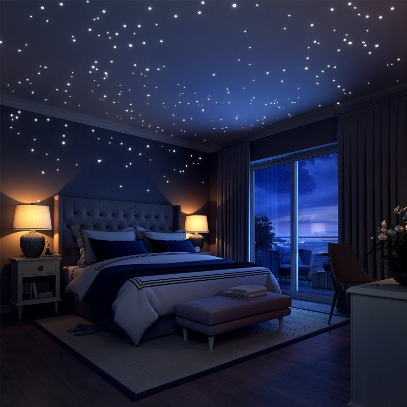 Glow In The Dark Stars Wall Stickers 252 Adhesive Dots and Bright Moon Starry Sky Baby room night light Birthday Gift Decoration
