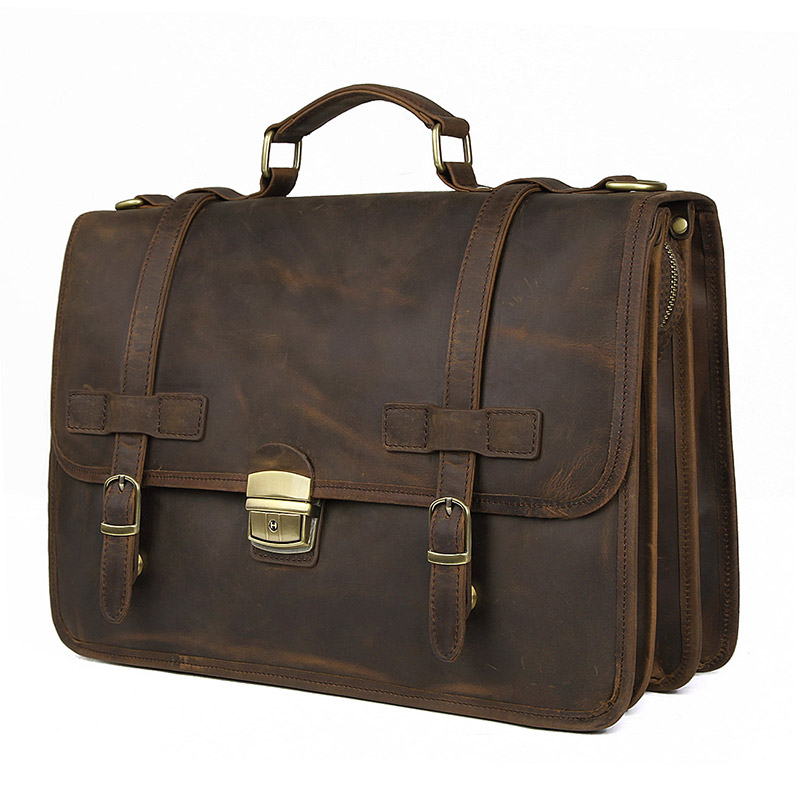 Nesitu New Anti-thief Brown Thick Genuine Crazy Horse Leather Office Business Men Briefcase Male Portfolio Messenger Bags M7397