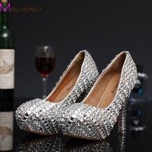 2016 neue Mode Silber Frau Plattform Schuhe Kristall High Heels Schuhe strass Runde Toe dame Partei Proms Plus Größe 34-43