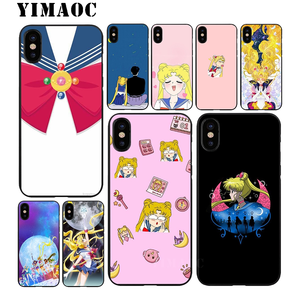 YIMAOC Pretty Guardian Sailor Moon Soft TPU Black Silicone Case for iPhone X or 10 8 7 6 6S Plus 5 5S SE