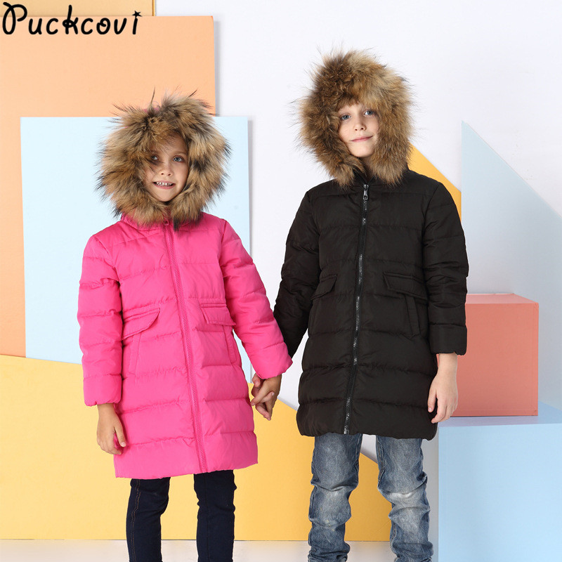 Kids parkas Children down overcoat Thicken Winter duck down outerwear Raccoon hair Collar Warm clothes Boys Girls clothing korean baby girls parkas 2017 winter children clothing thick outerwear casual coats kids clothes thicken cotton padded warm coat