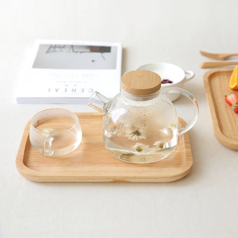 Square Wood Cake Dishes Home/ Hotel/School Dessert Rubber Wood Tray Solid Natural Wood Chopping Board Tea Dinner Plate Tableware