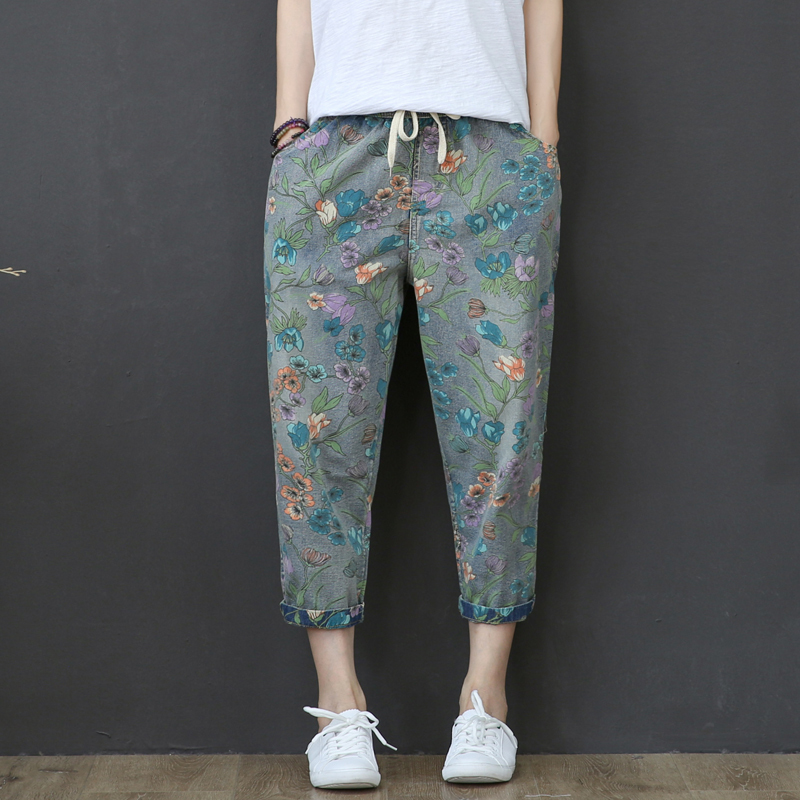 High Waist Jeans Woman Vintage Loose Summer Denim Pants Floral Print Capri Jeans For Women Short Harem Pants Vaqueros Mujer