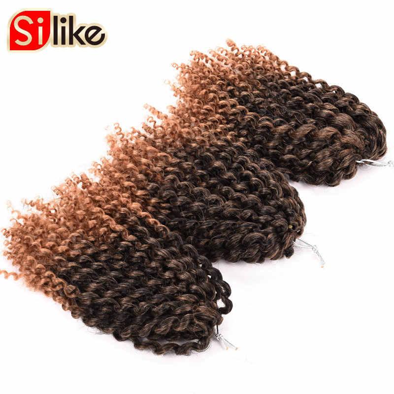 Silike 8 дюймов Омбре Marlybob крючком косы 3 шт./упак. африканские в мелкий завиток волосы 90 г/упак. синтетические крючком волосы для наращивания