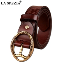 LA SPEZIA Classic Belt Women Coffee Pin Buckle Leather With Circle Female Real Cowhide Ladies Round Belts