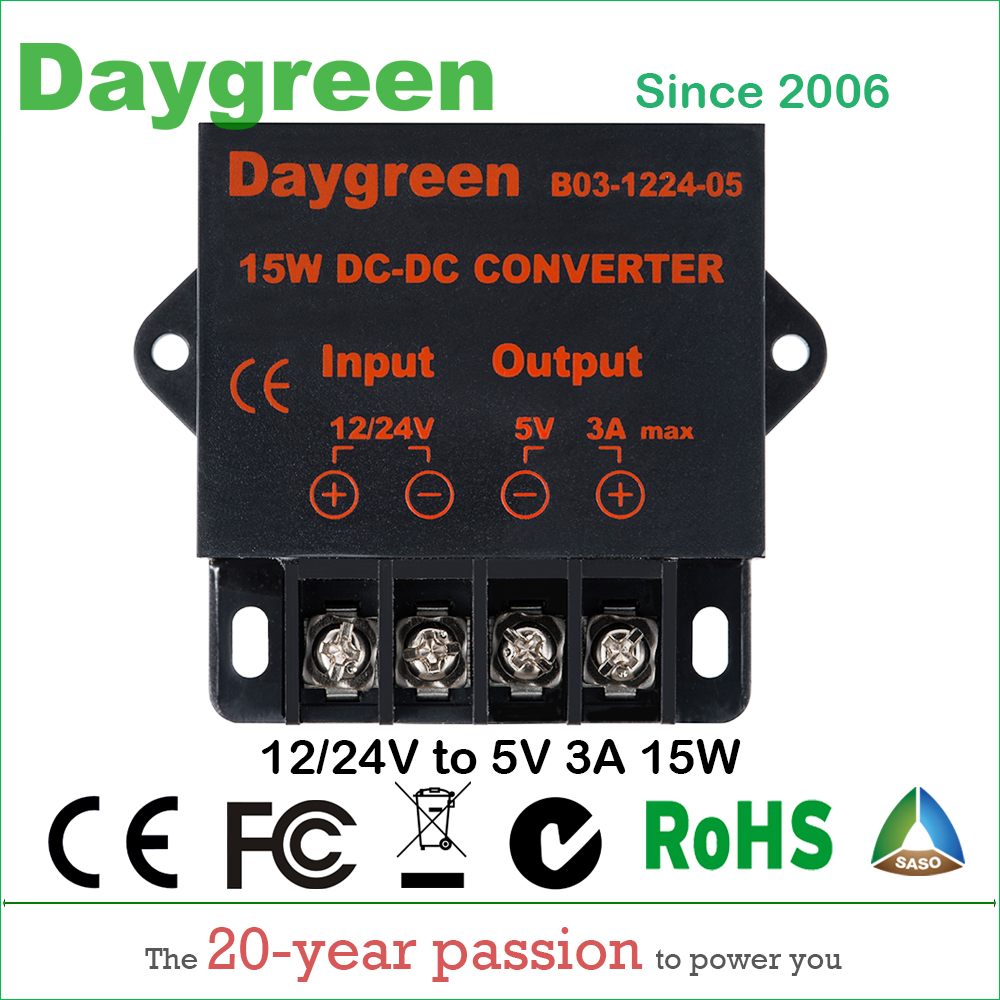 12V 24V to 5V 3A (12VDC/24VDC to 5VDC 3AMP) 15W DC DC Converter Regulator Car Step Down Reducer Daygreen CE RoHS Certificated 48v to 12v 10a 48vdc to 12vdc 10 amp 120w golf cart voltage reducer dc dc step down converter ce rohs certificated