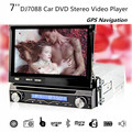 DJ7088 7inch 1 Din Car DVD Player GPS Navigation In-dash Detachable Front Panel 1Din Car Radio Audio Stereo TV Function Russian