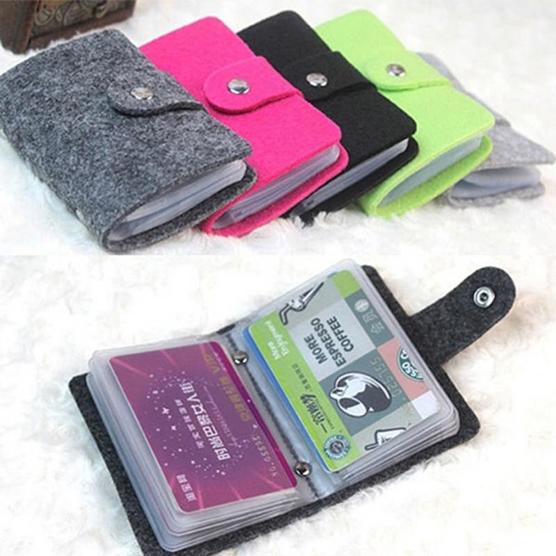 Nibesser fashion unisex wool felt cover card holder fold multiple new fashion unisex wool felt fold design multiple cards 24 slots high quality buckle style credit colourmoves