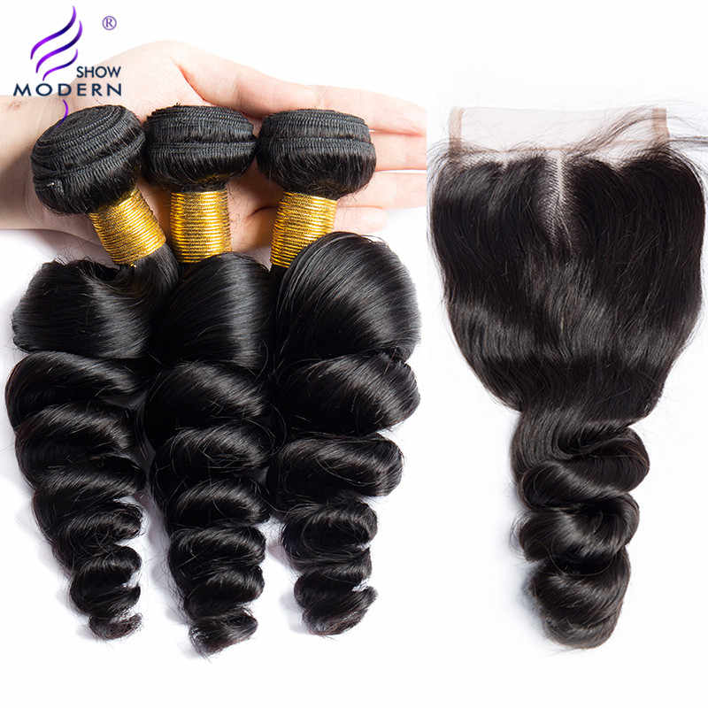 Modern Show Loose Deep Wave Bundles With Closure Brazilian Hair Bundles 3 pcs Non Remy Human Hair Bundles With Closure 4 Pcs/lot