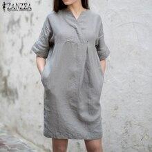 ZANZEA Kaftan Shirt Dress Women Sundress Vintage V Neck Summer Dresses