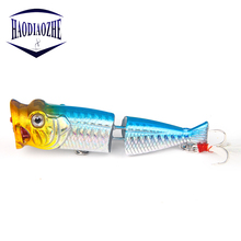Купить с кэшбэком Jointed Popper Fishing Lure 8cm 11.8g Floating SwimBiats Hard Crankbait Lifelike Swimbaits With Feathers Pesca Topwater Wobblers