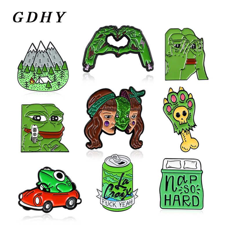 GDHY เข็มกลัดสีเขียวกบ Pepe Cat Paw เคลือบ Pins Zombie Skeleton Skull ผลไม้เครื่องดื่มขวดภูเขาหน้ากากคนต่างด้าวมอนสเตอร์ badge