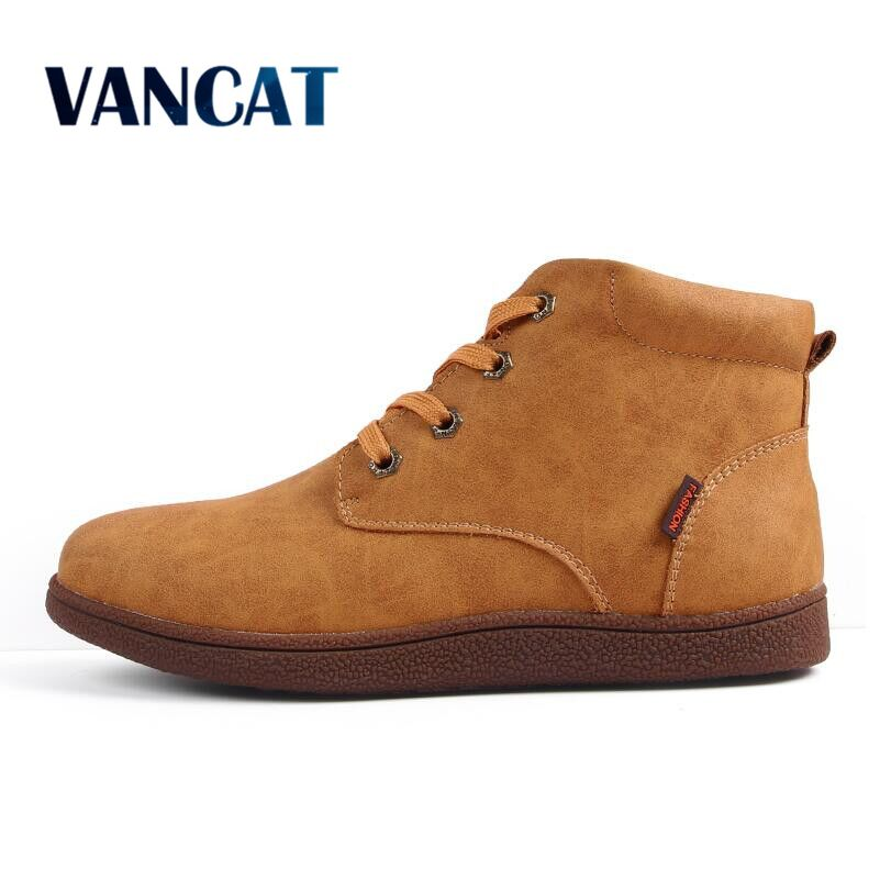 Vancat Fashion Men Boots High Quality Split Leather Ankle Snow Boots Shoes Warm Fur Plush Lace-Up Winter Shoes Plus Size 38~46