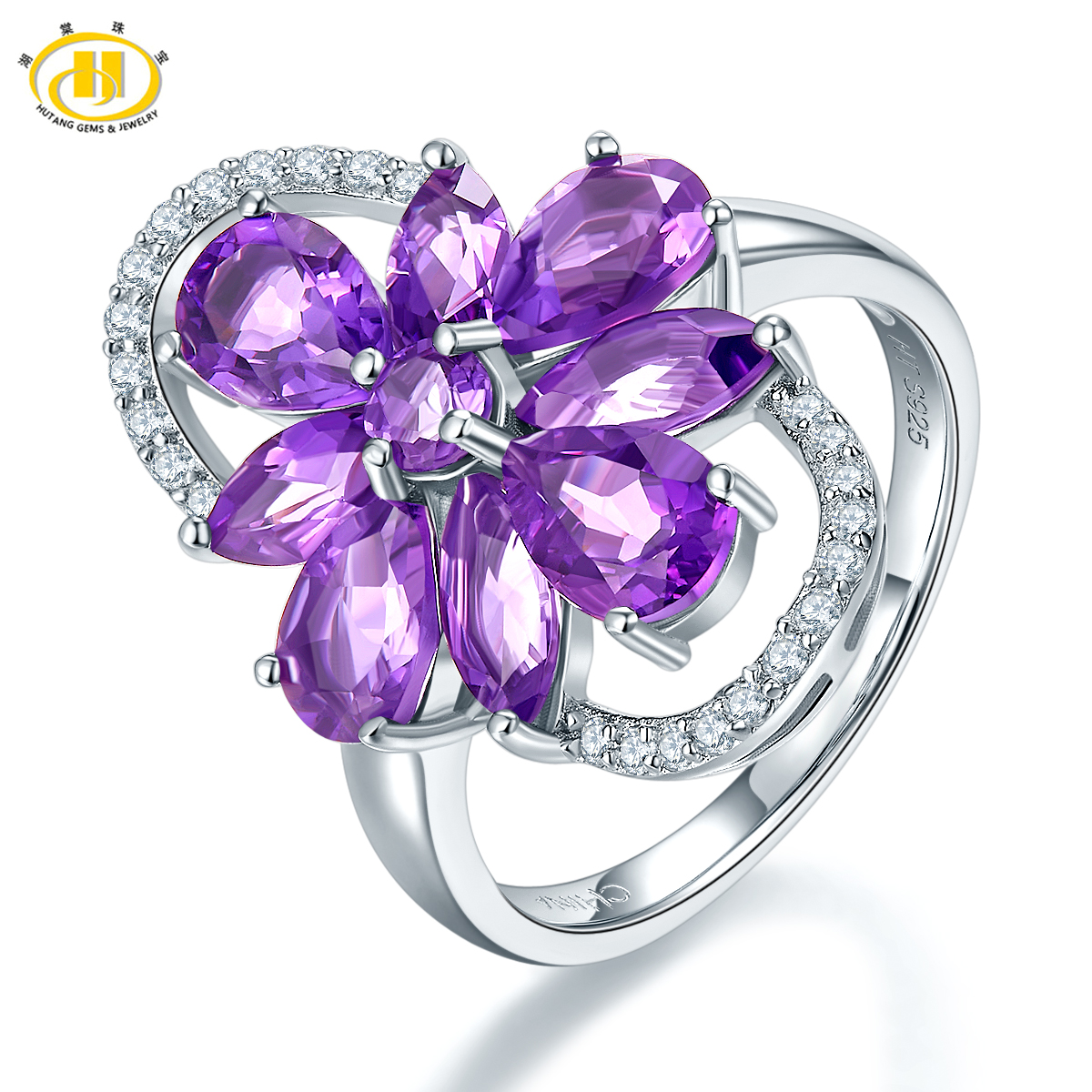 Hutang Luxury Natural Amethyst Ring Solid 925 Sterling Silver Gemstone Fine Jewelry Rings for Women Christmas Gift 11.11 umcho luxury tanzanite rings for women solid 925 sterling silver gemstone engagement ring sets christmas jewelry gift with box