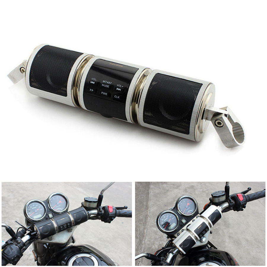 Motorcycle Speaker Bluetooth V2.1+ EDR Audio Water-resistant Motorbike Stereo Speaker Moto FM Radio AUX USB TF MP3 Player