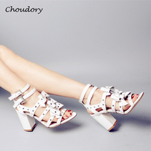 Choudory Chunky High Heels Woman Sandals Summer Fashion Gladiator Party Butterfly-knot Zapatos Mujer Buckle Strap Shoes