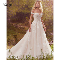 weiyin Vestido De Noiva New Design A Line Lace Wedding Dresses V Neck Appliques Backless Sexy Vintage Wedding Gowns