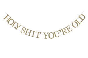 """Image 1 - """"Sarcastic"""" Gold Glitter Holy Shit Youre Old Banner for 30th 40th 50h 60th 70th 80th 90th Funny Birthday Banner Sign Bunting"""