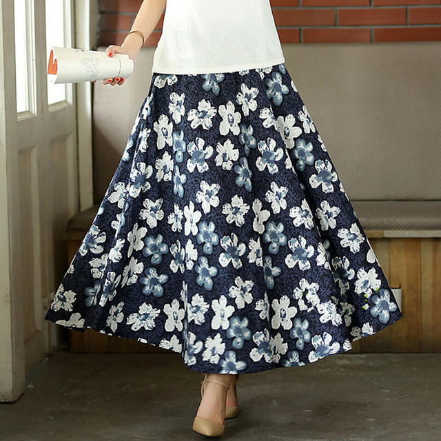 e1f73a28240d Summer women's skirt big swing long skirt ethnic Chinese folk-custom Style  Linen Ankle Lengthprinted