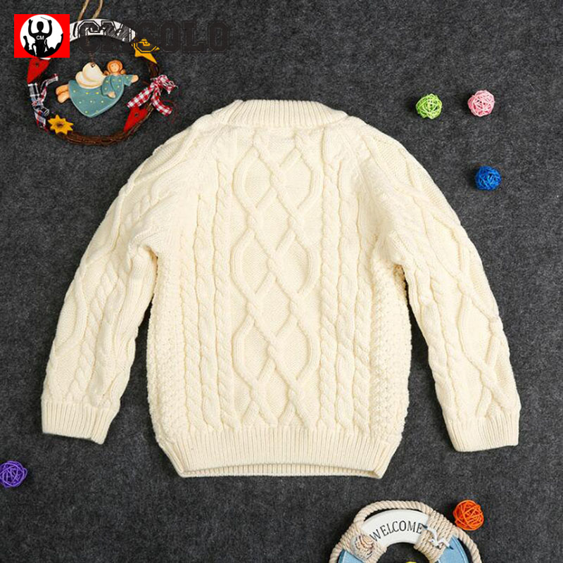 CMSOLO Fashion Boys Girls Autumn Cloth Children Plus Velvet Thick Sweater Baby O-Neck Pure Color Unisex Clothing Full Winter Hot