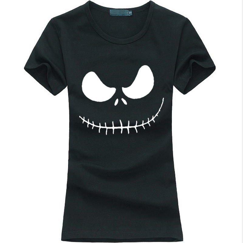 Jack skellington evil smile print print women for Gym shirts womens funny