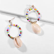Natural Shell European and American Fashion Earring Personality Multi-colored Beads Temperament Earrings Jewelry