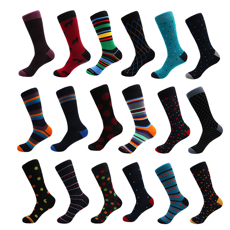 Hot Sale Casual Mens  Long Socks New Autumn And Winter Plaid Multi-color Retro Cotton Dot Socks