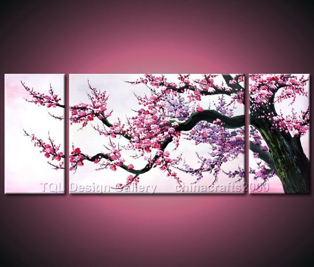 LOVE Japanese Cherry Blossom Original Modern Abstract Art Oil Painting On Canvas