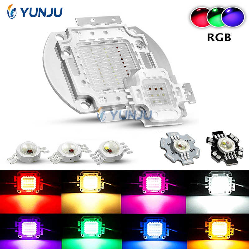 RGB High Power LED bulbs Red Green Blue 3W 10W 50W 100 Watts Lighting Beads Fountain Stage Park DIY Lamp Chips