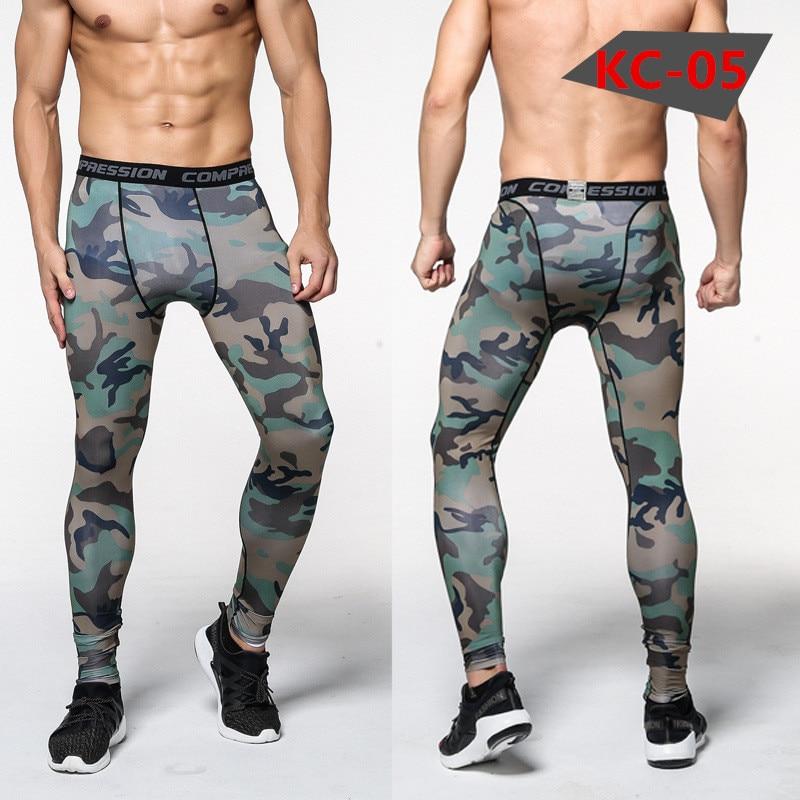 Celana Kamuflase baru Pria Celana Kompresi Elastis Mengangkat Kulit Binaraga Celana Ketat Celana Merek Pakaian Pantalon