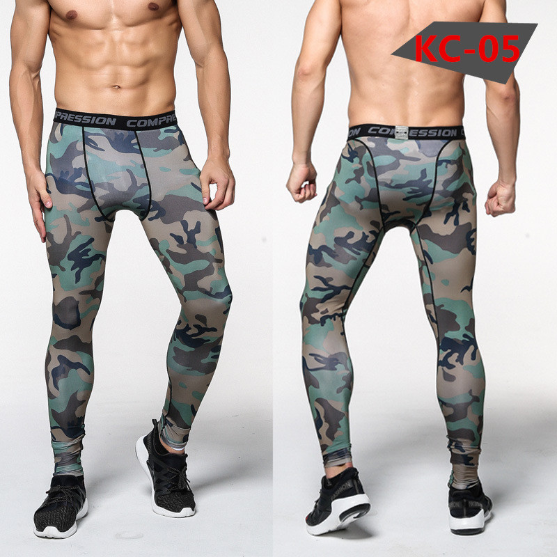Nya Camouflage Byxor Män Kompression Pant Elastic Sweatpants Lifting Bodybuilding Skin Tights Byxor Märke Kläder Pantalon