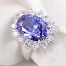 Enviar Desde EE.UU. 6 Quilates Piedra Azul Anillo de Plata 925 Accesorios De Joyería de Moda Del Banquete de Boda Envío Gratis