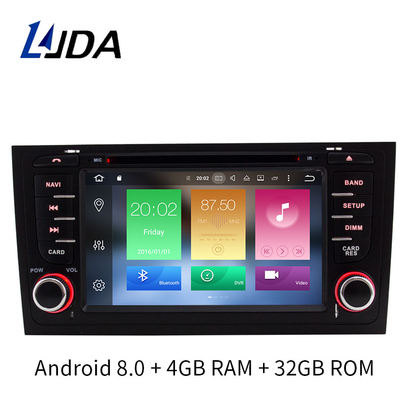 LJDA 2 Din Android 8.0 Car DVD player For AUDI A6 S6 RS6 GPS Navigation Multimedia WIFI Audio Stereo Radio Headunit 4G+32G 8core цена