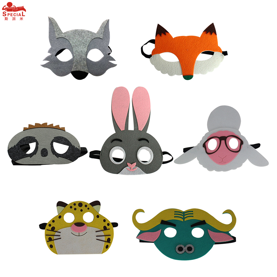 7 Packs SPECIAL Animal Cosplay Children Masks Rabbit Fox Felt Mask Sheep Shower Costume Cartoon Outfit Leopard Mask Baby Party