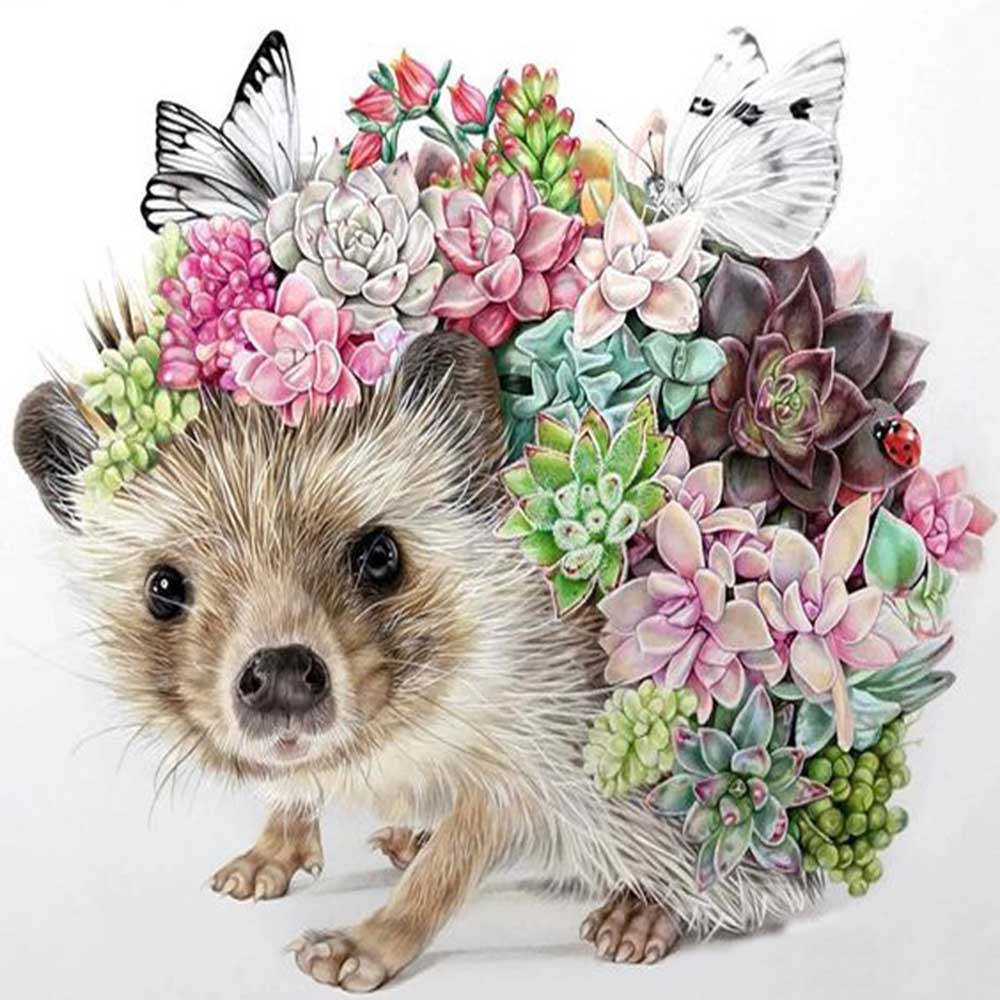 Mosaic 5d DIY Diamond Embroidery flowers Hedgehog cactus Diamond Painting Cross Stitch Full Square Drill Mosaic Decoration Gift image