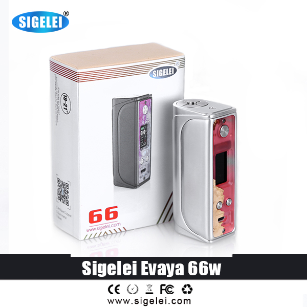 100% Oroginal Electronic Cigarette Sigelei Evaya 66W the most popular mod from Sigelei vape mod 1*18650 battery