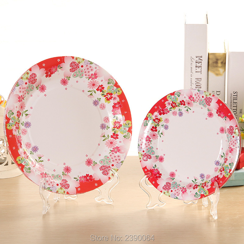 Free Shipping 100 Sets Red Flower Party Tableware Disposable Paper Plates Cups Wedding Napkins In From Home Garden