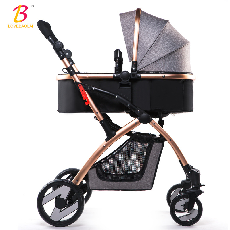 Yibaolai baby stroller high landscape can be sitting can be folded winter and summer children's trolley portable baby carriage cr80 crf125 150 250 450 230f falling short handle can be folded forging horn