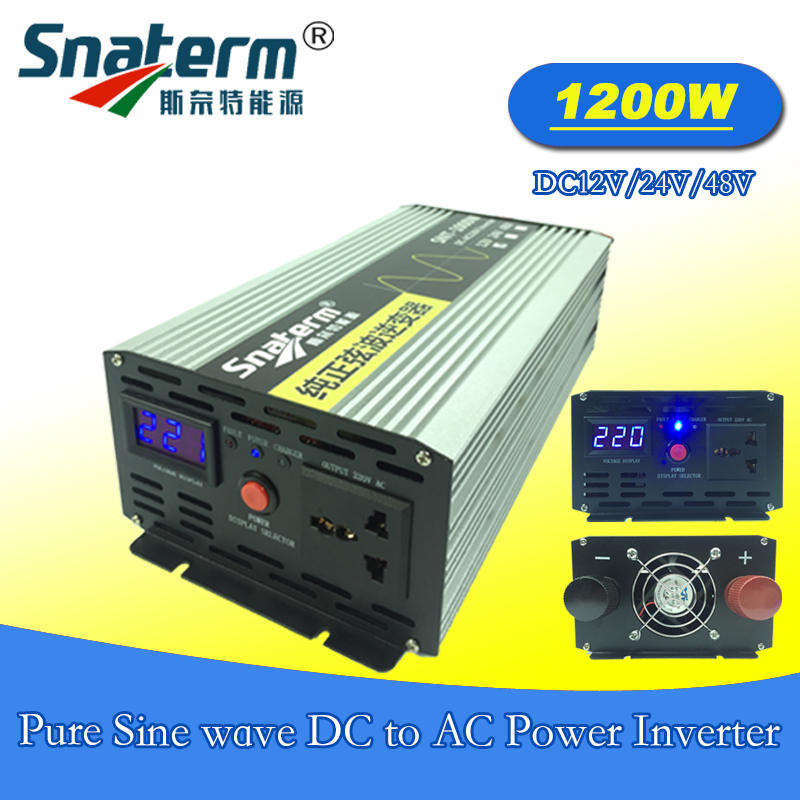 1200 watts 1 2KW Solar PV pure sine wave Power Inverter DC12V 24V 48V to AC220V
