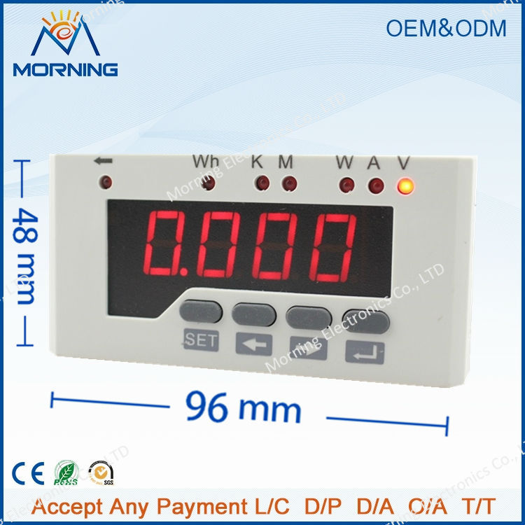 DE51-2O Frame Size 96*48mm Single Phase DC Data Retention LED Digital Display Energy Meter with TWO alarm outputs d6 4o panel size 72 72 low price and high quality ac single phase led digital energy meter for industrial usage