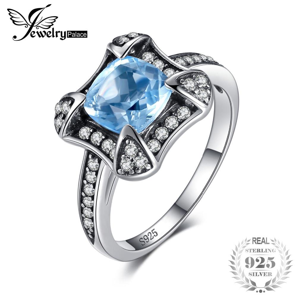 JewelryPalace Retro 1.8ct Naravna nebo modra Topaz Halo prstan za - Lep nakit