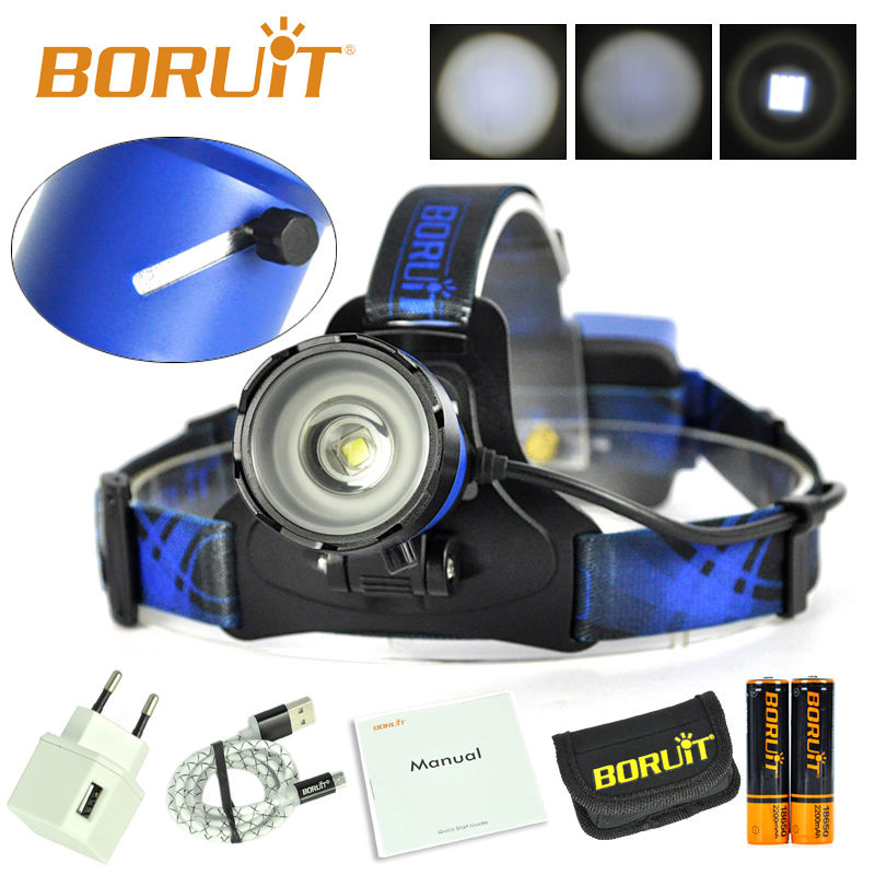 BORUiT  Blue Cree XM-L2 LED Headlamp 3 Modes Frontal LED headlamp Hunting Forehead Headlight with Battery and Charger/USB