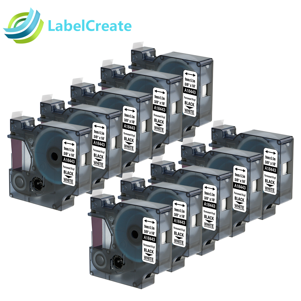 10 Packs Compatible for Dymo IND Rhino Plastic Label Tapes 18443 9mm for Dymo Permanent Vinyl