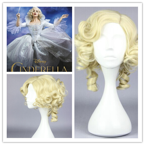 MCOSER 2015 New Desiny Movie Cinderella fairy godmothe Beautiful lolita wig Anime Wig synthetic short gold cosplay wigs