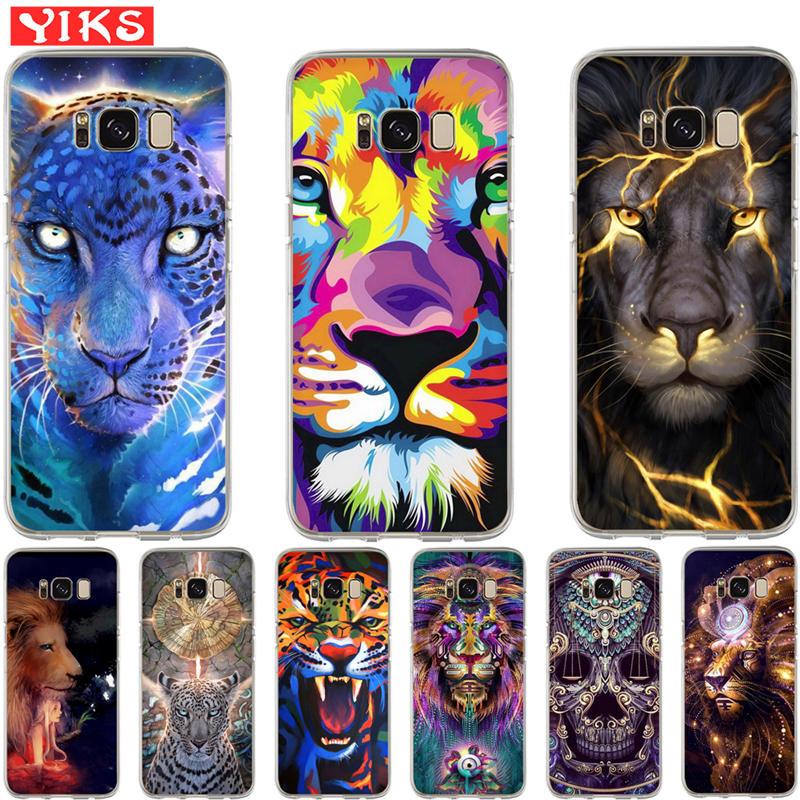Galleria fotografica animal lion tiger Case For Samsung S8 S9 Plus Note 8 soft Cover For Coque Samsung Galaxy S6 S7 Edge S8 S9 Plus Capinha Etui